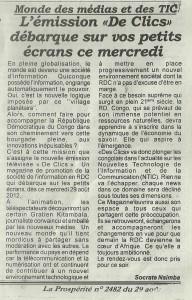 Réaction à la diffusion de la première émission Des Clics dans News Coupure-de-presse-Des-Clics-192x300