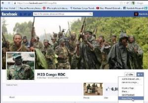 La page du M23 fermée par Facebook