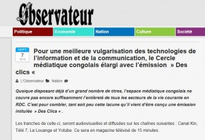 Capture d'écran du site internet de L'Observateur